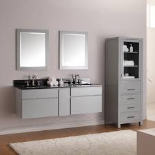 modern double bathroom vanities with grey wall mounted cabinet combined with quartz top and wall