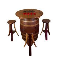 whiskey barrel game table set