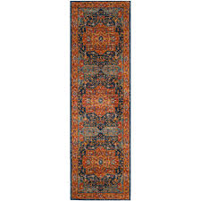 safavieh evoke blue orange 2 ft x 13 ft runner rug