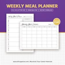 Weekly Menu Weekly Meal Planner Inserts, Menu Planner Printable, Meal Calendar ...