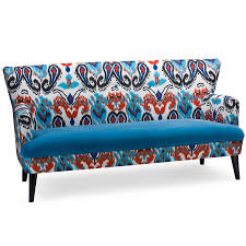 Paisley Sofa baxton studio lacey paisley ikat sofa with blue velvet seat 8245 by xevi.us