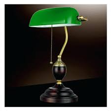 green glass lamp emerald table light power bank desk office red wood vintage reading shade replacement