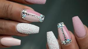 How to hard gel refill and nude nail art with stones and roses ...