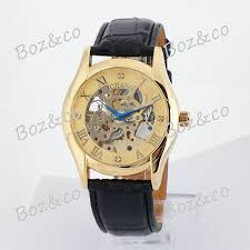 mens watch blue face leather band promotion shop for promotional fashion cjiaba men s watch mechanical watch leather band skeleton military watches ga9001