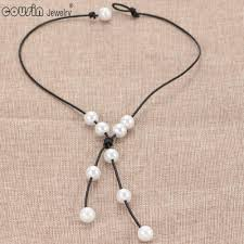 whole xl0032m new pearl handmade single imitation pearl leather necklace on genuine leather cord for women pearl jewelry star pendant necklace glass