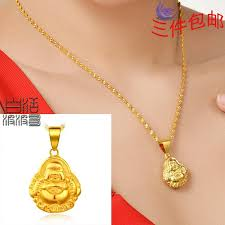 18k gold plated genuine gold necklace pendant solid gold jewelry national wind sided buddha pendant necklaces necklaces pendants jewelry with