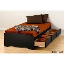 Twin XL Platform Bed Frame with 3 Storage Drawers in Black ...
