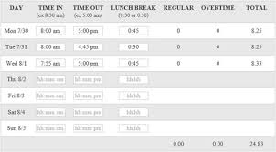 Timecard Calculation Easy Free Time Card Calculator With Lunch Breaks And Overtime