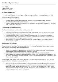 appraiser sample resume. Appraiser Sample Resume. real estate ...