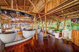 Designed by a Balinese architect, it's built completely from bamboo   ingenious and environmentally friendly.