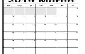 Monthly Academic Calendar March 2019 Monthly Academic Calendar Free Printable