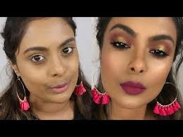 wedding guest makeup tutorial pink gold halo smokey eyes for party beauty