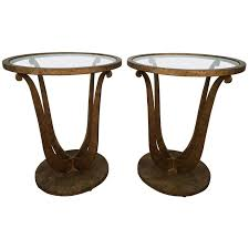 pair of art deco style lyre side tables