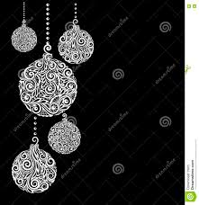 Black And White Greeting Card Black And White Christmas Background With Christmas Balls Hanging