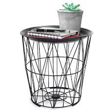 black geometric iron metal wire round tray top storage side table basket malaysia