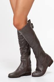 grey faux leather knee high riding boots