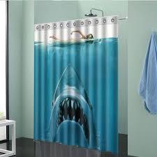150x180cm shark pattern waterproof polyester shower curtain bathroom decor with 12 hooks