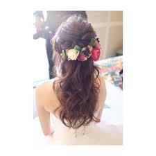 色味の可愛いお花とハーフアップ Hair Makeup Wedding Photoshooting