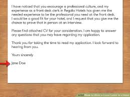 Front Desk Clerk Cover Letter How To Write A Cover Letter To A Hotel With Pictures Wikihow