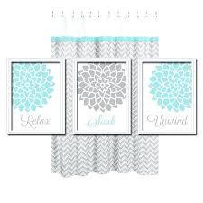 relax wall decor relax soak unwind grey gray aqua blue flourish dahlia flower artwork set of relax wall decor