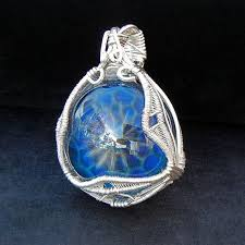 wire wrapped recycled glass pendant. 25 Best Glass Pendants Images On Pinterest Rh  Com Wire Wrapped Dichroic Recycled Pendant I