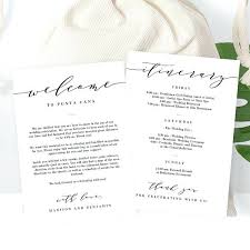 Wedding Welcome Thank You Letter And Itinerary Bag Gift Basket Tag ...