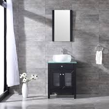 details about 24 bathroom vanity cabinet tempered glass countertop ceramic sink w mirror set