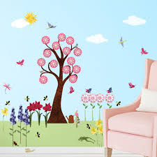 flower wall decals for girls room – peel  stick flower stickers