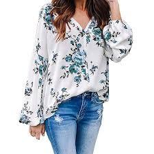 Lailailaily <b>Women's</b> Floral Print Sexy <b>V</b>-Neck Long Sleeve Boho ...