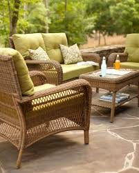 Charlottetown Wicker Woven Loveseat Chair and Coffee Table by