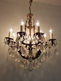 french c1910 antique birdcage 12 arm gilt brass crystal chandelier
