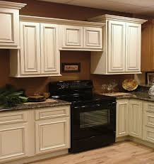 grandiose white themes kitchen decors with l shaped paint cabinets white and grey marble top as well as brown wall painted views