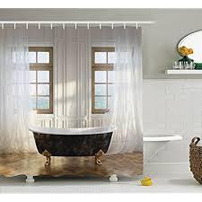 modern shower curtains. Antique Decor Shower Curtain Set By Ambesonne, Retro Bathtub In Modern Room Interior Hardwood Classics Space Design, Bathroom Accessories, Curtains