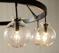 barrett glass globe chandelier pottery barn with light idea 5