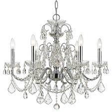 crystorama imperial 6 light crystal chrome chandelier i