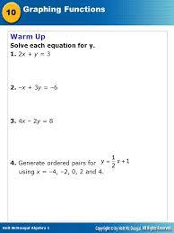 warm up solve each equation for y 1 2x y 3 2 x 3y 6