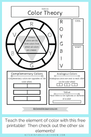 You can find the color wheel and some aspects of color theory in two worksheets in english language, ready to be completed with crayons. Printable Color Wheel An Intro To Color Theory For Kids The Kitchen Table Classroom