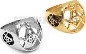 silver color gold masonic biker ring