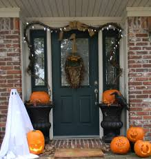 ... Good Looking Idea For Halloween Door Decoration Idea : Astounding Front  Porch Decoration Using Aged Dark ...