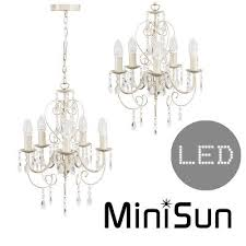 5 way cream chandelier light fitting clear acrylic jewels x5 led candle bulbs