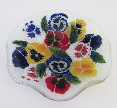 signed peggy karr fused art glass bowl