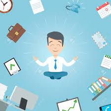 meditation businessman office. Happy Businessman Meditating In The Office. Business Yoga Office Worker Meditation Vector Illustration Stock F