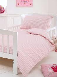 baroo bon bon pink gingham cot bed duvet cover set 120 x 150 cm
