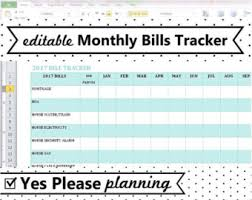 bill organizer template bill chart etsy
