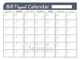 Printable Bill Organizer Spreadsheet Monthly Payment Calendar 3