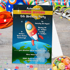 Space Party Invitation 10 Personalised Astronaut Space Birthday Party Invitations N142