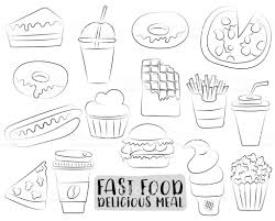 Fastfood Cartoon Pictogrammen En Objecten Instellen Zwartwit Pagina