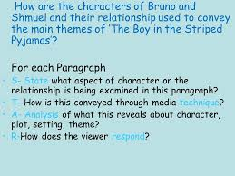 starter task think back to watching the boy in the striped how are the characters of bruno and shmuel and their relationship used to convey the main