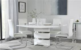 komoro white high gloss dining table with 4 perth white chairs