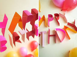 happy birthday poster ideas diy 3d paper birthday banner typography innovative graphic design